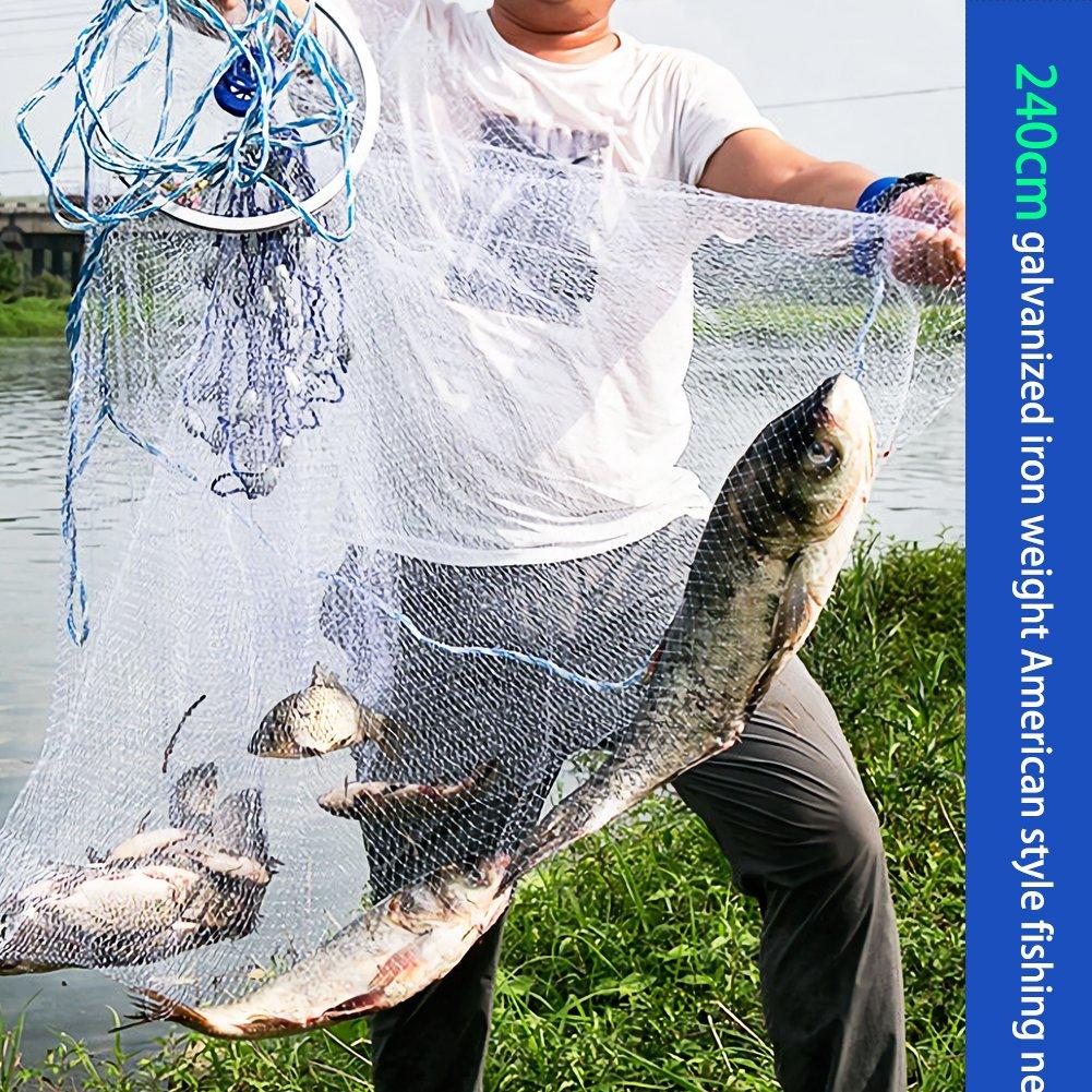 Rete da pesca a getto di mano, Acogedor monofilamento di nylon americano a forma di getto di lanci a mano in stile americano, rete da pesca per pesci da esca, maglia a 0,5 dita piccola, 2,4 m / 7,8 pi
