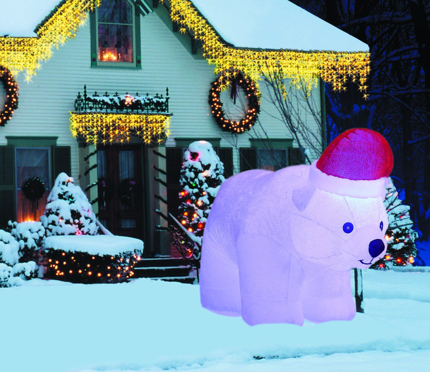 VIDAMORE 6.5 Foot Large Inflatable X-Mas Polar Bear LED Lighted Inflatables Outdoor Holiday Yard Lawn Decorations by Vidamore (Image #5)