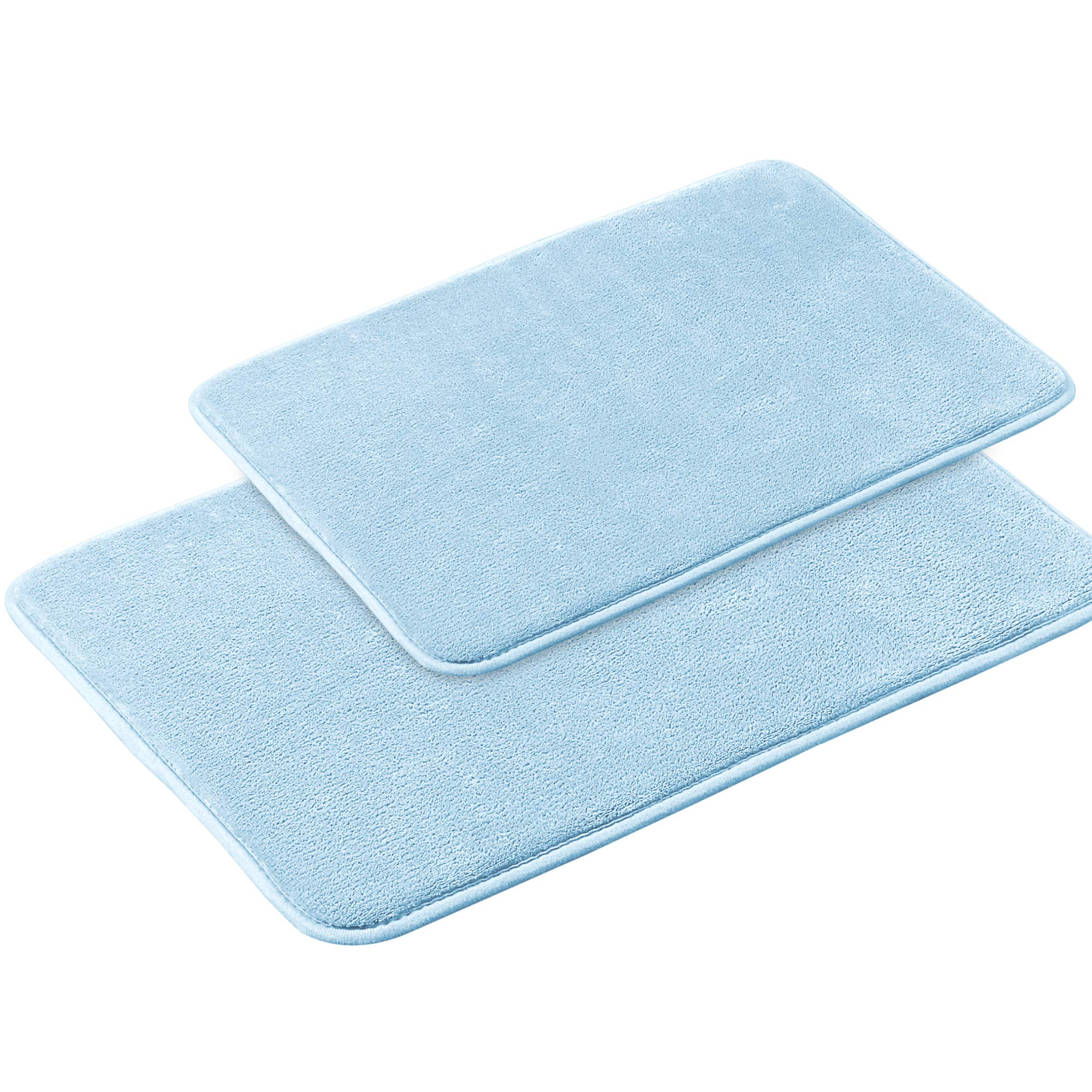 Memory Foam Bathroom Rug Set Ultra Soft Flannel Floor Mats Tufted Bath Rug with Non-Slip Backing Microfiber Door Mat for Kitchen/Entryway/Living Room (Pack 2-17'' x 24''/ 20'' x 32''- Sky Blue) by Flamingo P (Image #1)