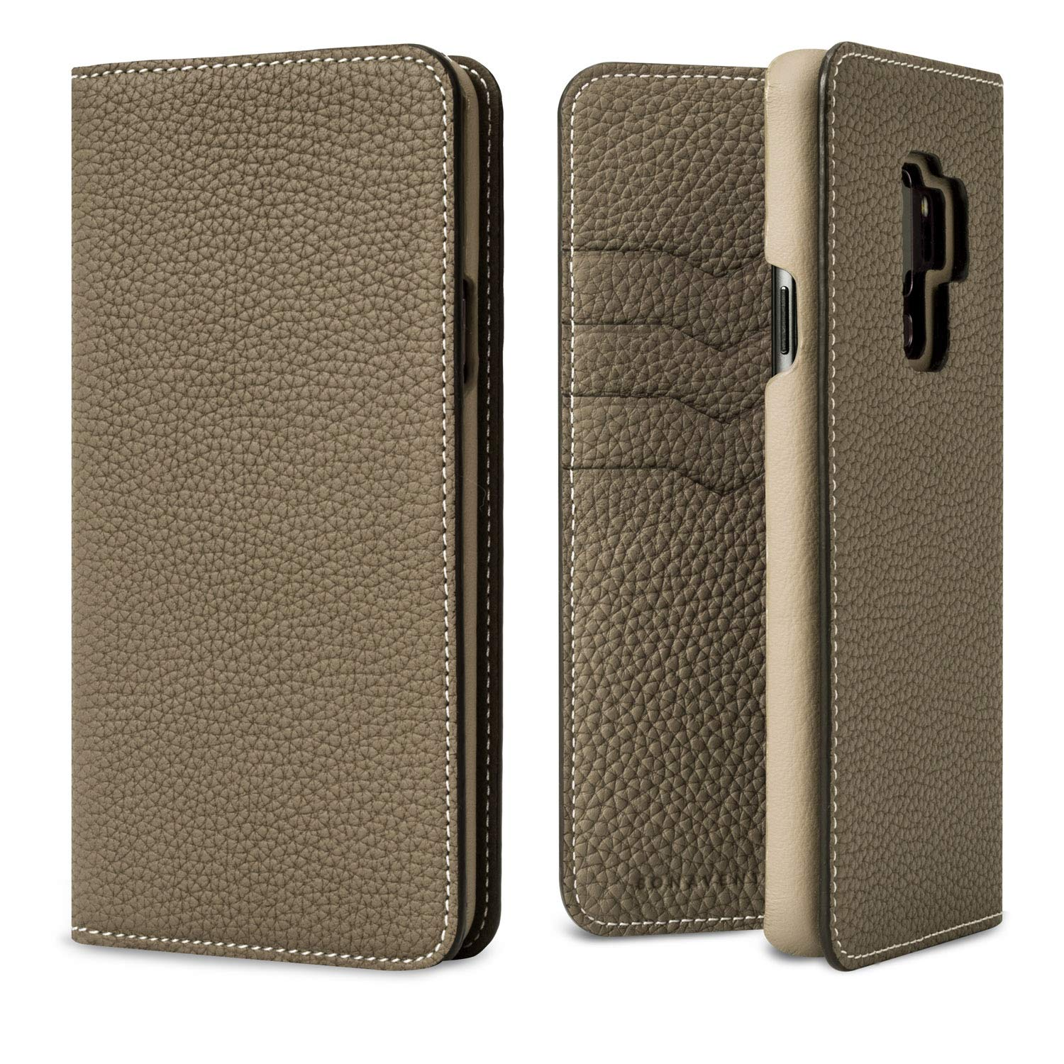 BONAVENTURA Galaxy S9+ Diary Leather Wallet Case [Galaxy S9+, Etoupe]