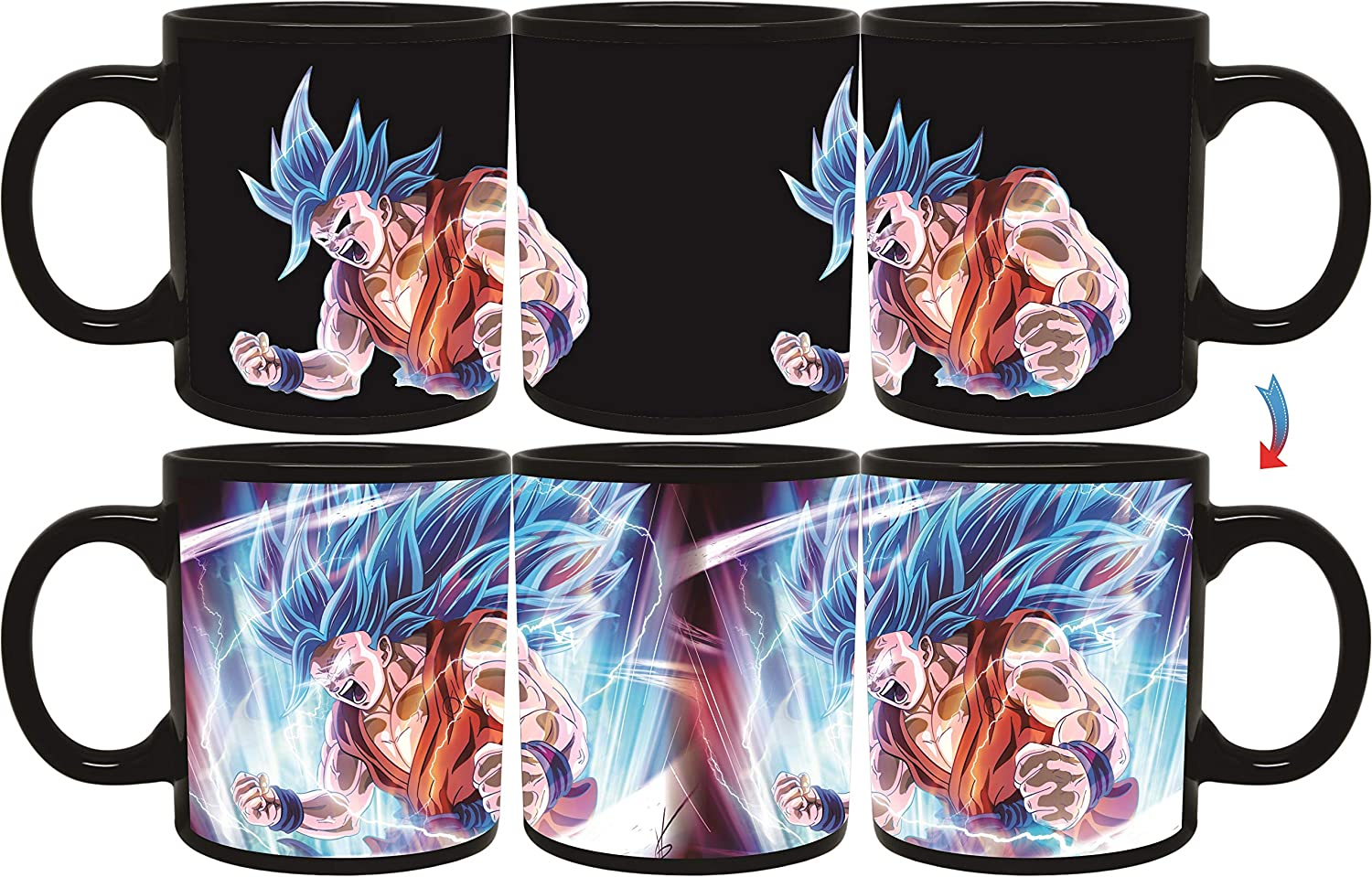 Sakura Elegance Vegeta Goku Black Anime Cartoon Character Dragon Ball Z Mug Fusion Collectibles Heat Reactive Color Changing Mugs 11oz (Goku) (Goku Blue)