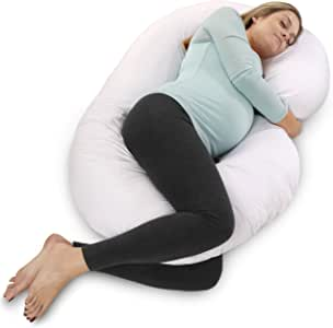 PharMeDoc Pregnancy Pillow with Jersey Cover, U Shaped Full Body Pillow (White)