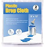 ComfortHome 2 Mil Plastic Drop Cloth for Painting and Surface Protection, Plastic Sheeting, 2-Pack, 9 Feet × 12 Feet
