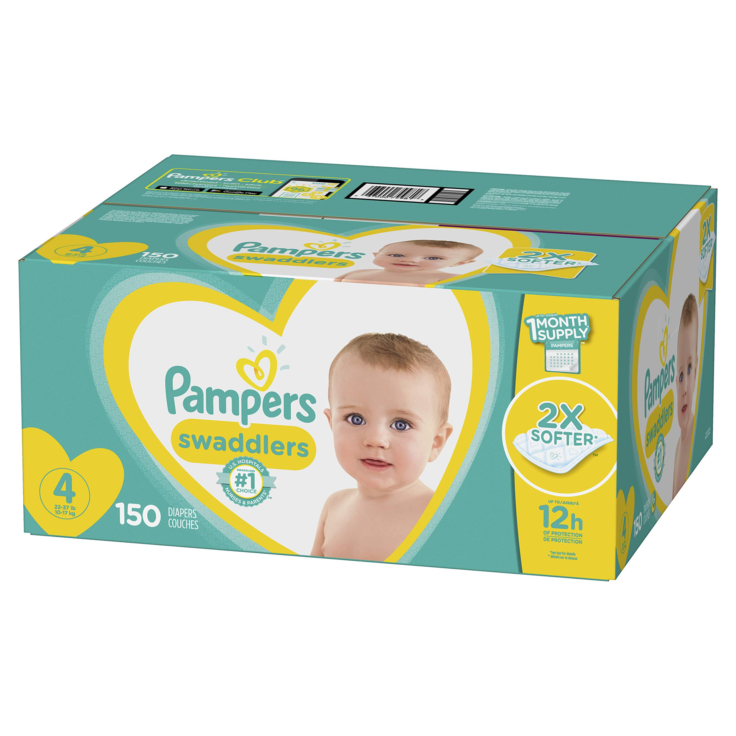 Diapers Size 4, 150 Count - Pampers Swaddlers Disposable Baby Diapers, ONE MONTH SUPPLY by Pampers