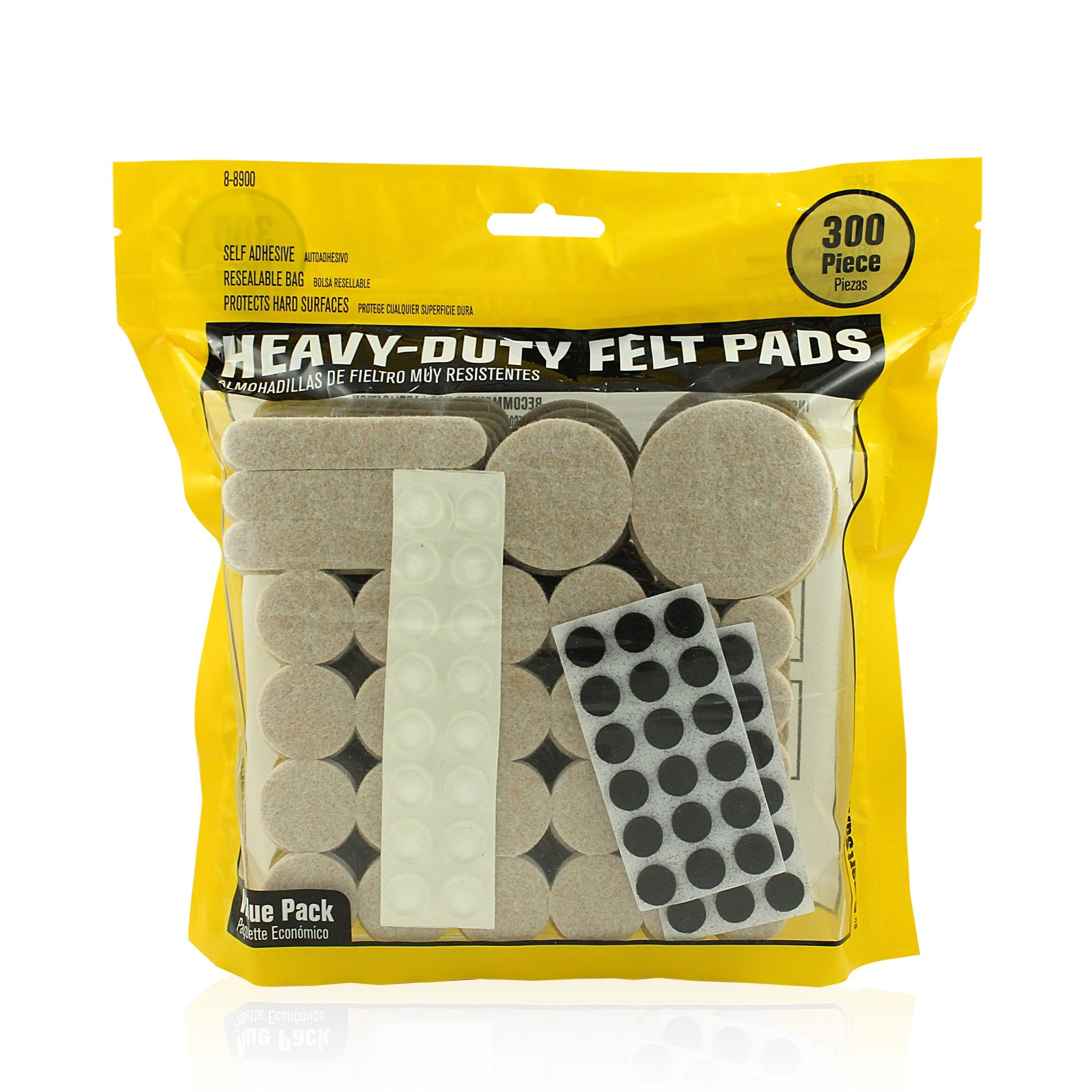 Smart Surface 8900 Heavy Duty Self Adhesive Furniture Felt Pads 300-Piece Value Variety Pack in Resealable Bag