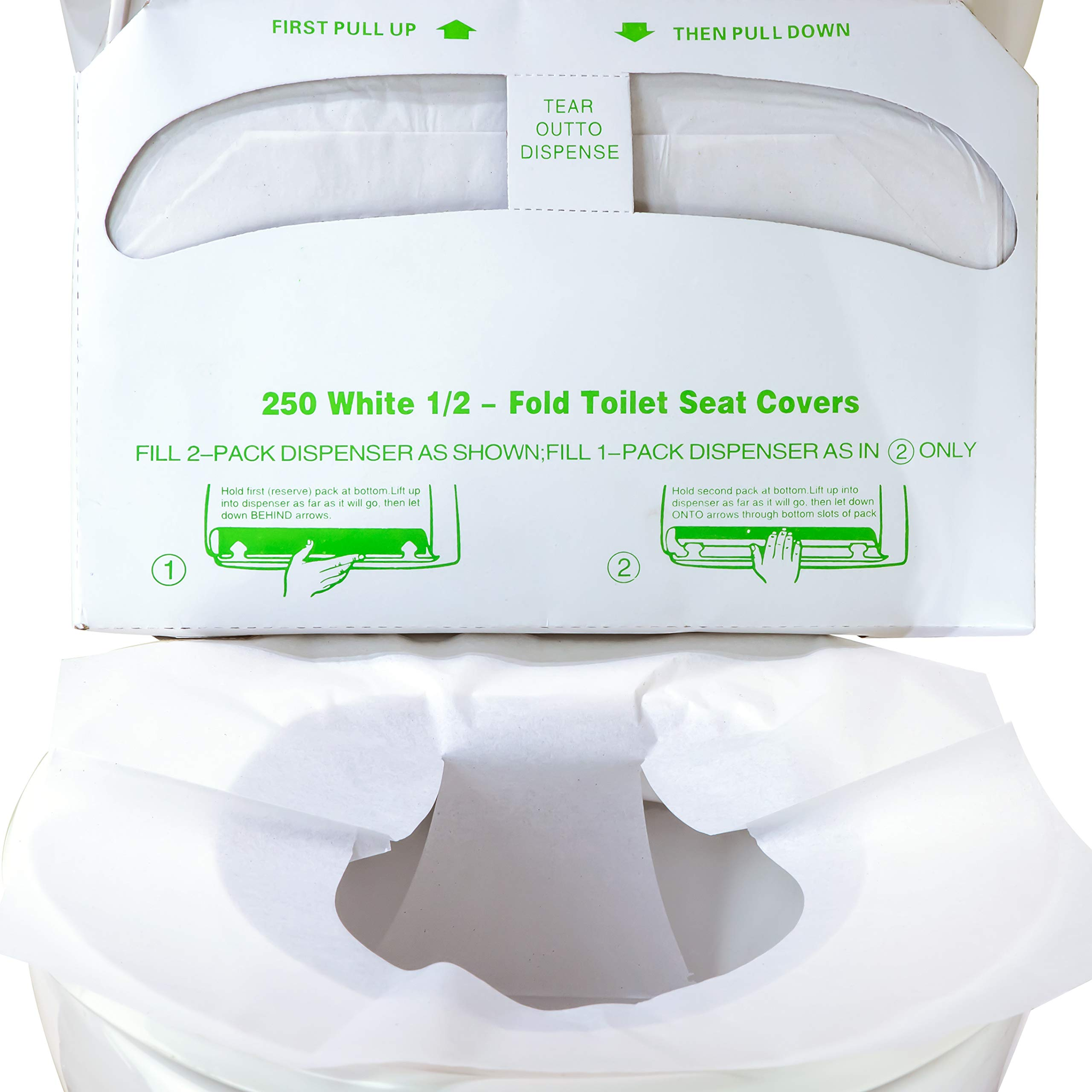 Biodegradable Half-Fold Toilet Seat Covers 500 Pk. Self-Flushing, Disposable Potty Papers Keep Toilets Clean and Family Healthy. Sanitary Paper Safety Covers for Commercial, Home, Travel and Kids Use by Mop Mob