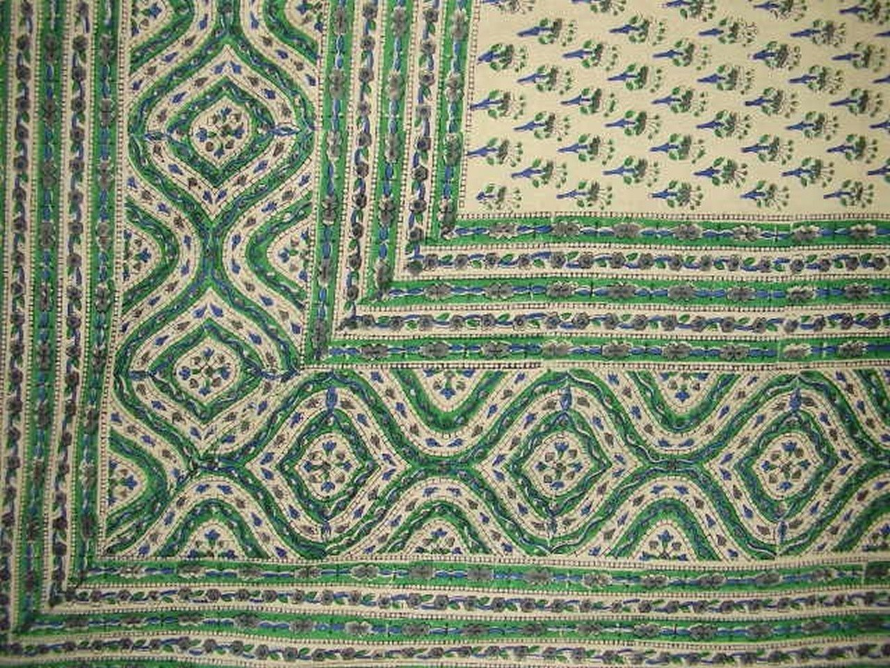 Block Print Indian Tapestry Cotton Bedspread 108'' x 88'' Full-Queen Green