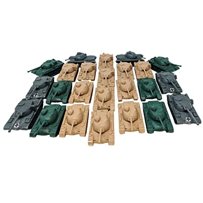 Toy Essentials 24 Piece Green Desert Gray Army Battle Tanks Play Set: Toys & Games