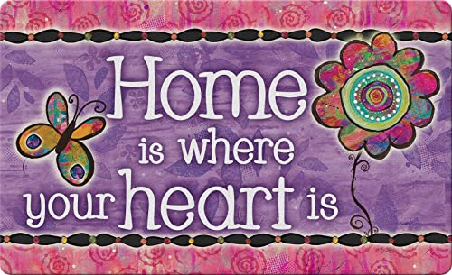 Toland Home Garden Home is Where Your Heart is 18 x 30 Inch Decorative Inspirational Floor Mat Cute Doormat