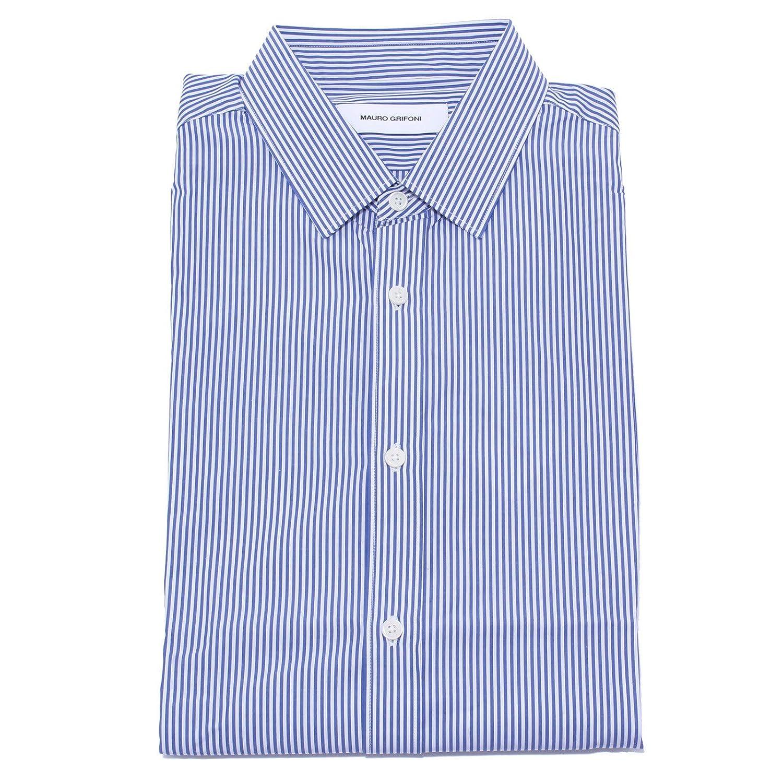 Bianco bleu 43 (17) MAURO GRIFONI 4775Y Camicia hommes blanc bleu Cotton Shirt Man