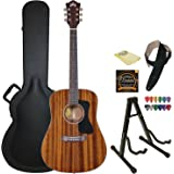 Guild D-120 NAT Natural Acoustic Dreadnought All Mahogany Guitar with Guild Hard Case, ChromaCast Strings, Stand, Picks, Strap and Polish Cloth