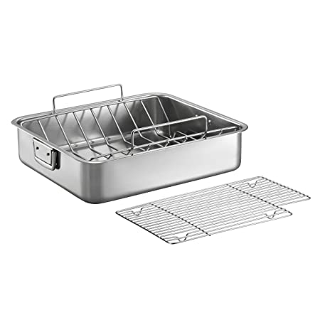 Tramontina Gourmet Premium 18 10 Staineless Steel 16.5-Inch Roasting Pan with Basting Grill and V-Rack