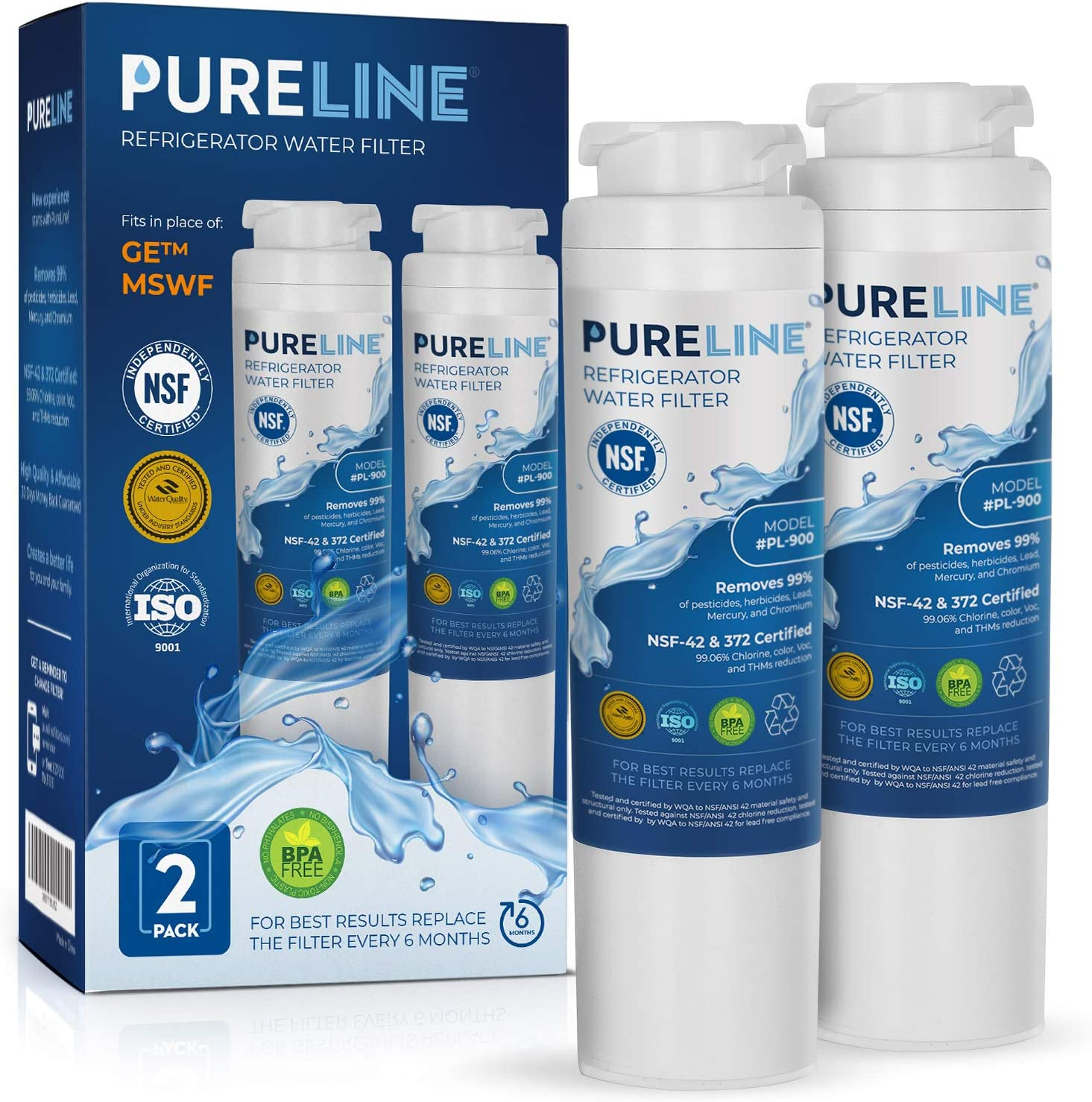 GE MSWF Certified Premium Water Filter Replacement. Designed to Exact Fit & Compatibility as the Original GE MSWF Filter.- PURELINE (2 Pack)