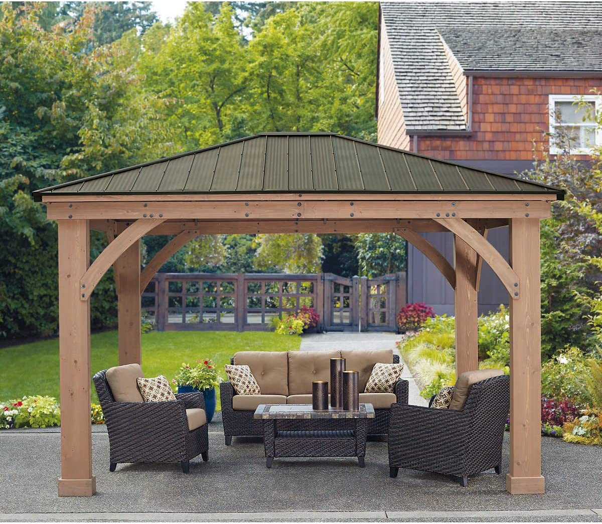 12 x 14 Cedar Gazebo With Aluminum Roof