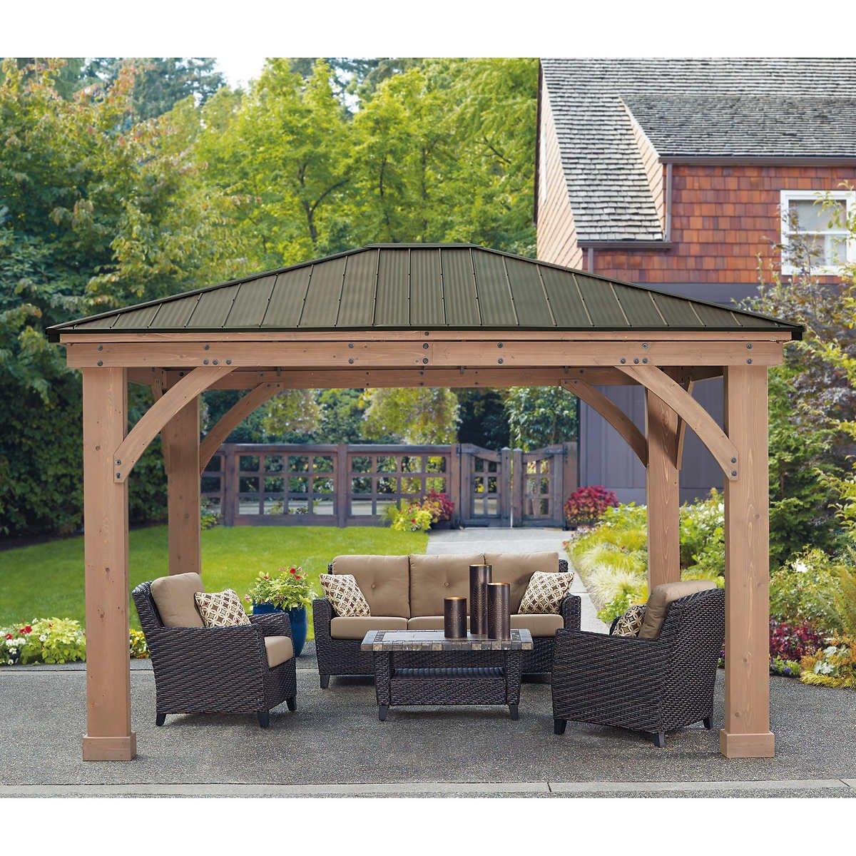 Amazon.com : 12' x 14' Cedar Gazebo With Aluminum Roof : Garden & Outdoor - Amazon.com : 12' X 14' Cedar Gazebo With Aluminum Roof : Garden