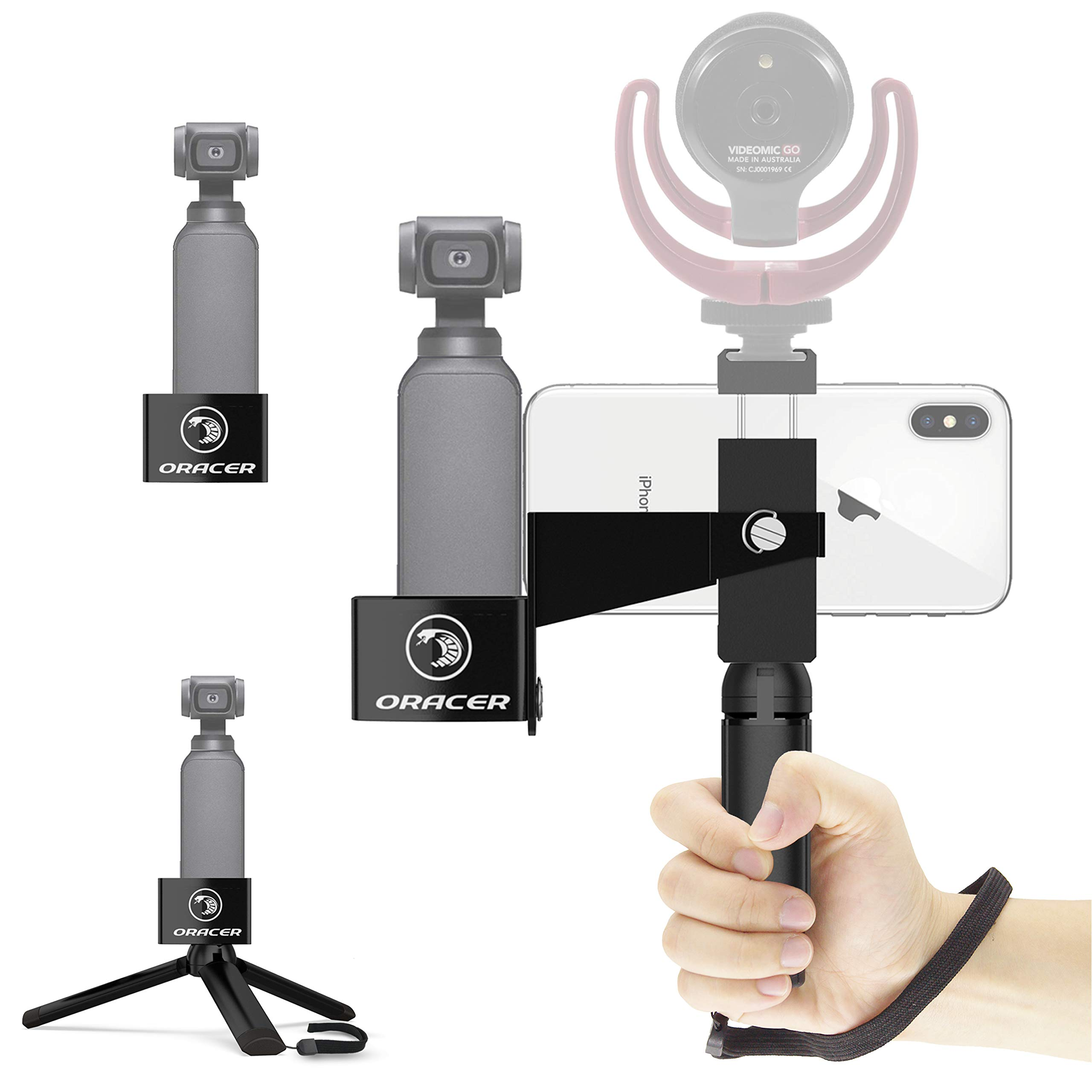 ORACER Osmo Pocket Accessories, Mount&Handheld Tripod Phone Holder with Cold Shoe, Expansion Kit for DJI Osmo Pocket