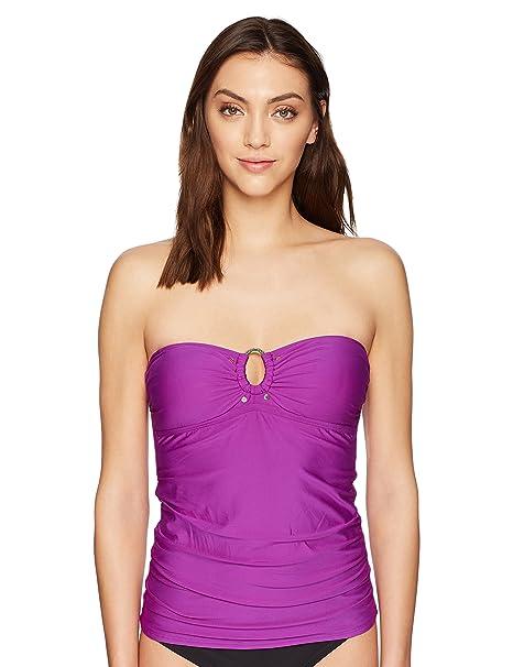 Amazon.com: calvin klein Women s Solid Bandini traje suave ...