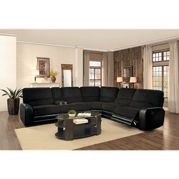 Homelegance Ynez Recliner Sectional Sofa Leather Gel Matched Fabric Cover with Cup Holders Storage Console, Chocolate