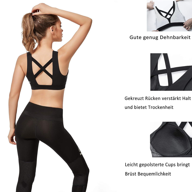 Yvette Sport BH Starker Halt Gro/ße Gr/ö/ße Gekreuzt R/ücken Ohne B/ügel Bustier f/ür Fitness Lauf Yoga Joggen