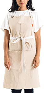 Caldo Linen Kitchen Apron for Cooking- Mens and Womens Linen Bib Apron for Professional Chef, Server, or Barista- Adjustable with Pockets (Bone)
