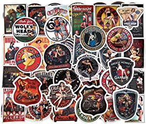 90 PCS Motorcycle Girl Stickers Pack, Vinyl Waterproof Laptop Stickers Bomb Beauty Pin-up Girls Vintage Retro Stickers for Luggage Skateboard Phone Case Guitar Car Bike Mens Adults Sticker Pack
