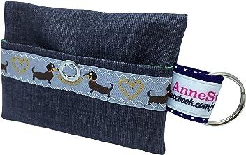 Kackbeutel schwarz Stern Hundekotbeutel Spender Hundetüte Leckerli Tasche aus Wachstuch Gassi gehen Waste Geschenk Hundebesitzer Poop Bag Chien