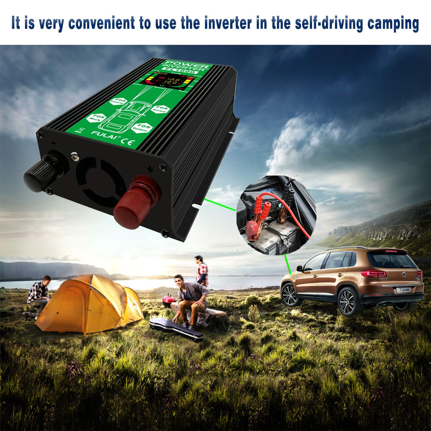 Fulai 1000w Power Inverter Dc 12v To Ac 110v Car Pure Sine Wave Circuit Diagram 2017 2018 Best Cars Converter With Lcd Display Screen Usb Port Black Electronics