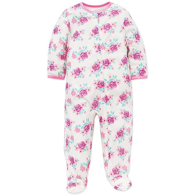 Little Me Bebé Niñas Floral suave cremallera Footie pijama pijama blanco Rosa