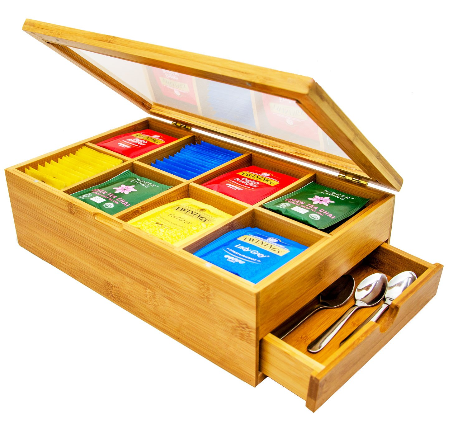 Tea Box 100% Bamboo Tea Box Chest Organizer With Slide Out Drawer, 8 Storage Compartments Clear Shatterproof Hinged Lid By Sugarman Creations by Sugarman Creations (Image #1)