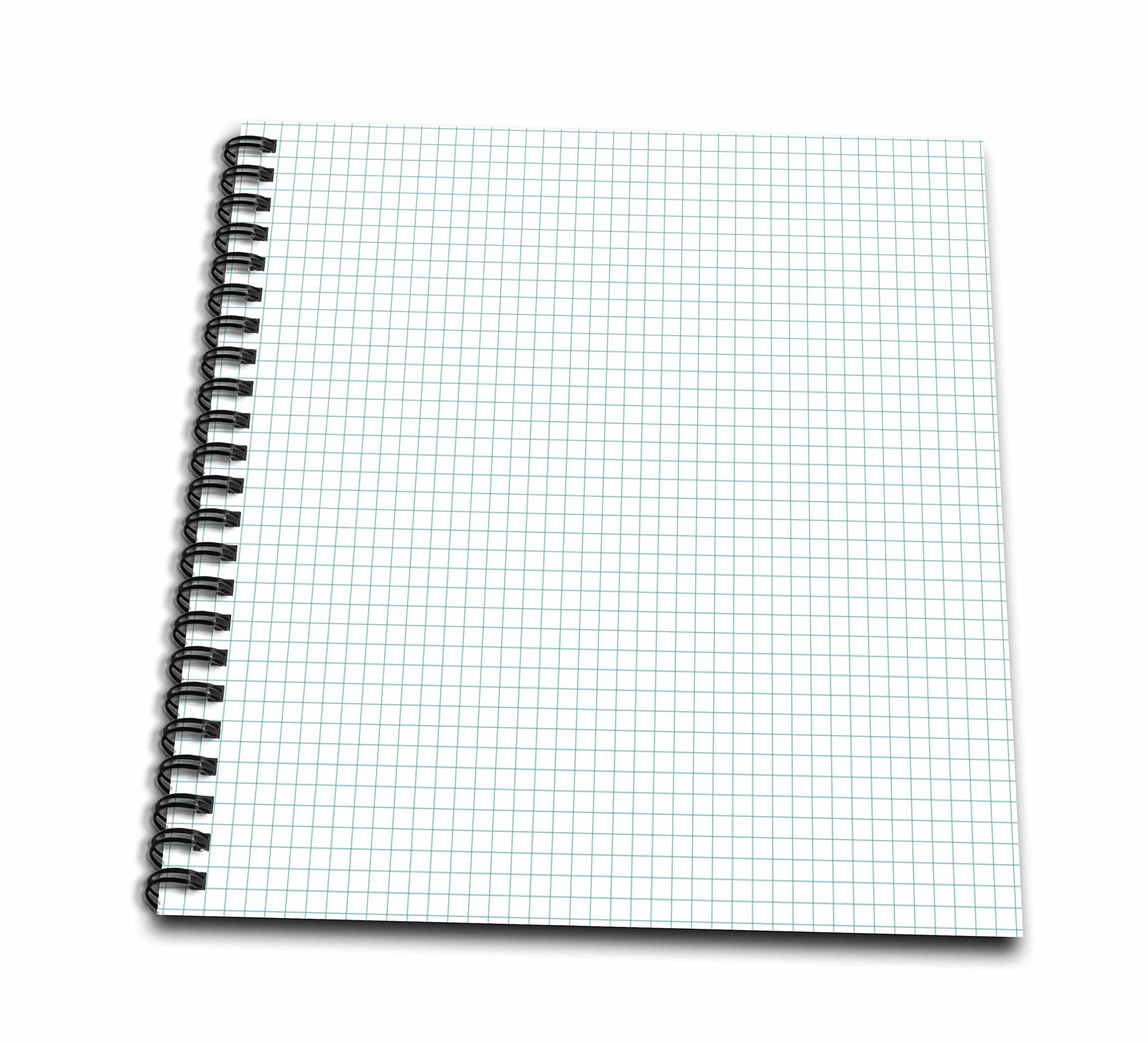 3dRose db_215548_2 Blue and White Graph Paper Effect Memory Book, 12'' x 12''