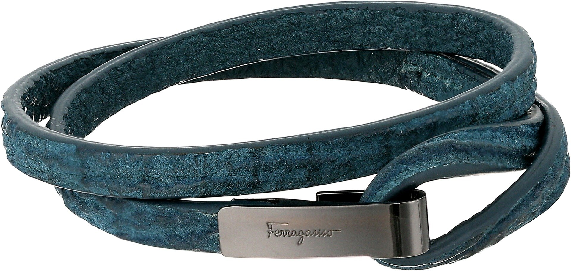 Salvatore Ferragamo Men's Shark Double Bracelet Bracelet Pelle Ultra Blue/Ott. Rutenio M One Size
