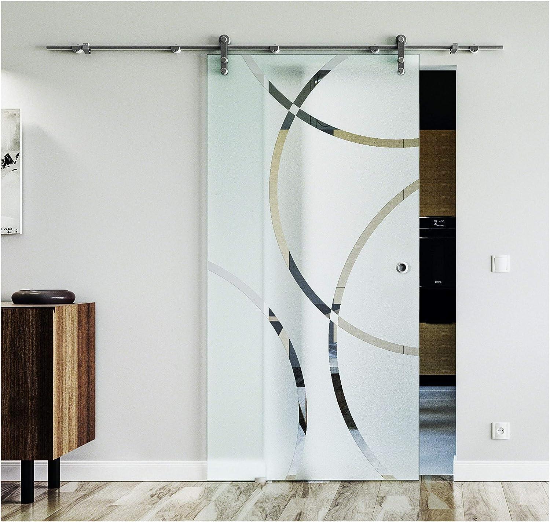 Glasschiebet/ür 775x2050 mm Berlin-Design B Levidor/® Edelstahl-System komplett Laufschiene//Laufrohr und Muschelgriffen Schiebet/ür aus Glas f/ür Innenbereich/ ESG-Sicherheitsglas
