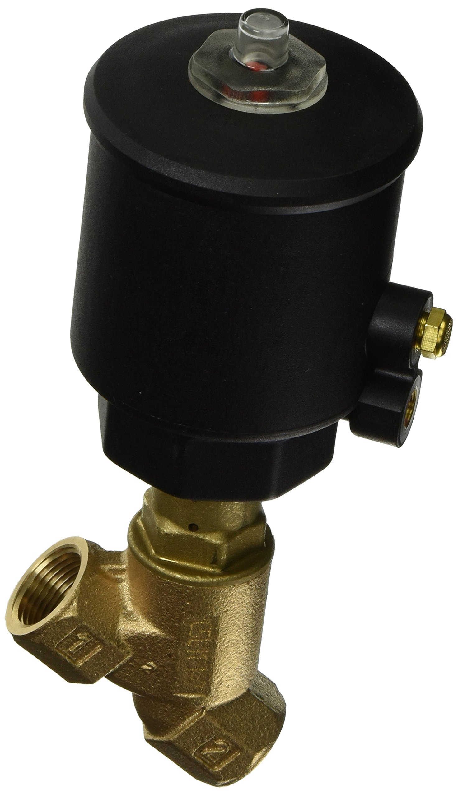 ASCO 8290B005 Bronze Body Air/Water Pilot Operated Angle Body Multi-Purpose Valve, 3/4'' Pipe Size, 2-Way Normally Closed, Entry Under the Disc, PTFE Sealing, 63 mm Valve Head Diameter, 3/4'' Orifice, 1