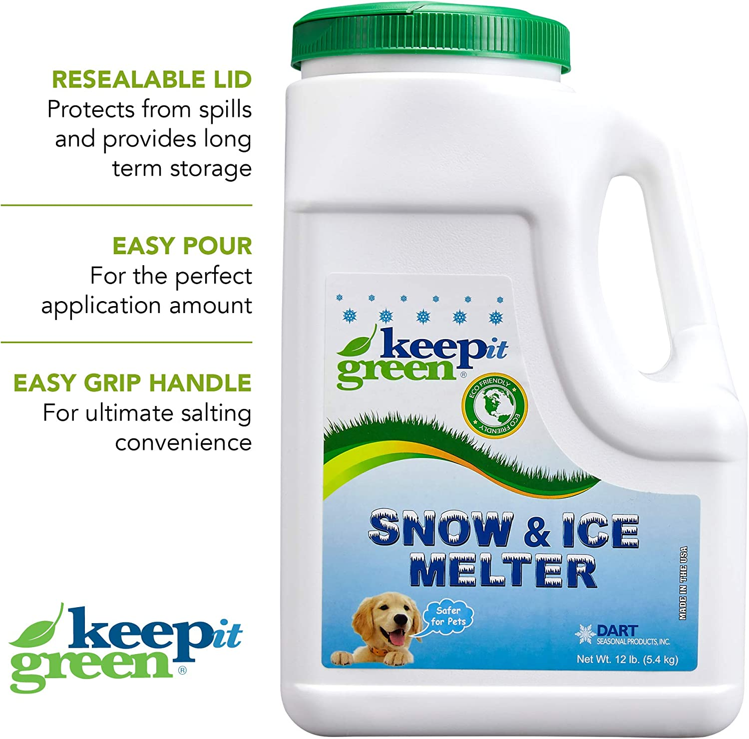 KEEP IT GREEN Pet Safe Snow Melt – 12 Pound Jug - Nontoxic Child Friendly Ice Melter Rock Salt Pellets with Green Tint - Time Release Fertilizer for Grass and Garden – Calcium Chloride Free