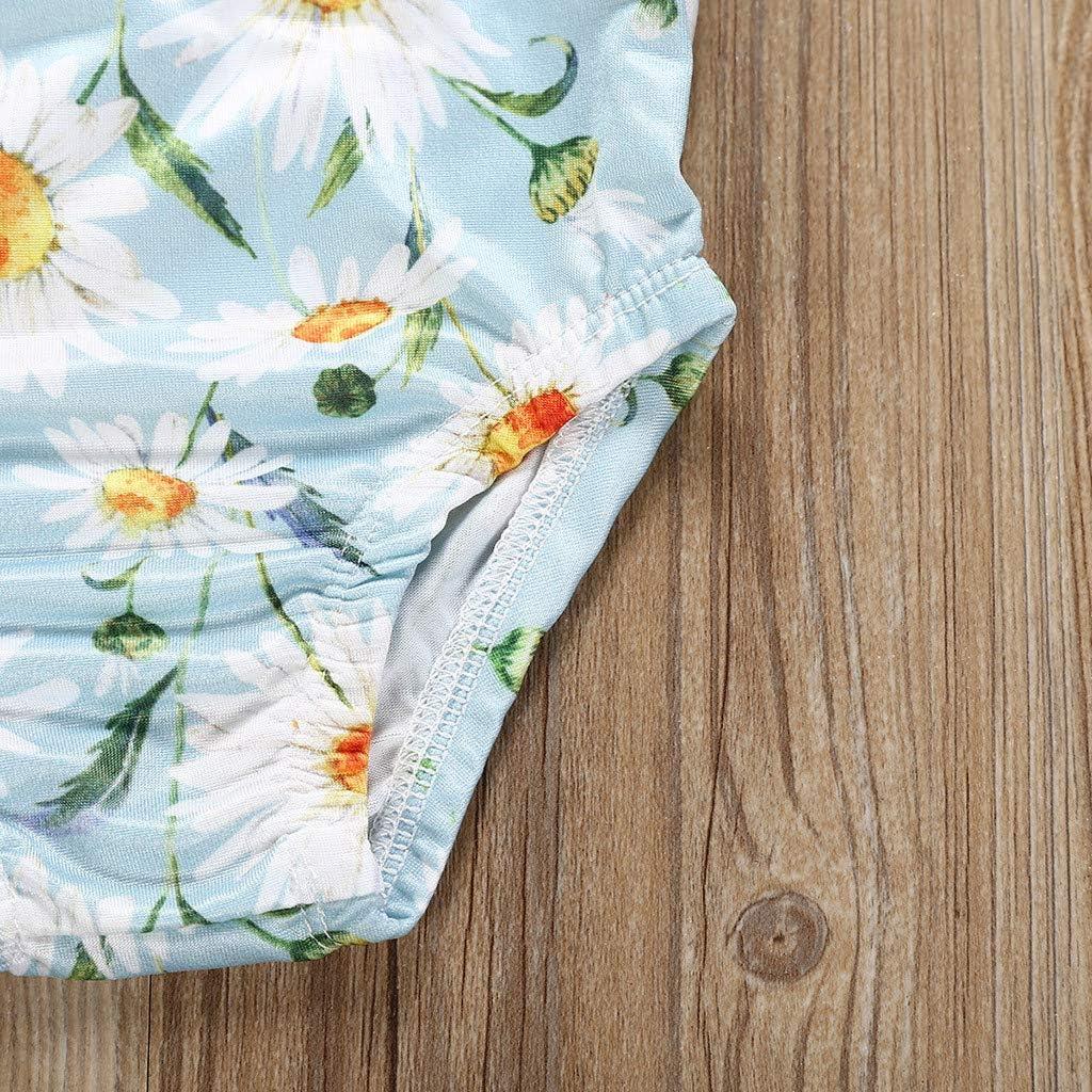 Sayolala Baby Girls Swimsuit Kids Floral Print Vest Summer Swimwear Romper Jumpsuits 1-5 Years