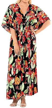 622f9f4ba LA LEELA Mujeres caftán túnica Impreso Kimono Libre tamaño Largo Maxi  Vestido de Fiesta para Loungewear