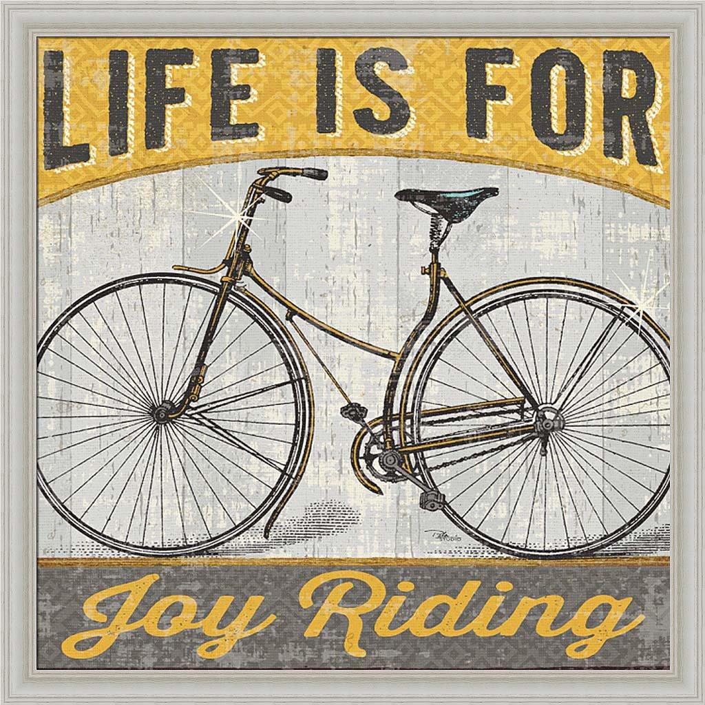 Joy Ride I Pela Studioヴィンテージイエロー自転車アート写真フレーム付き画像壁飾りアートワーク WA-14836-W-18x18  White-wash Frame B00PR7BH3K