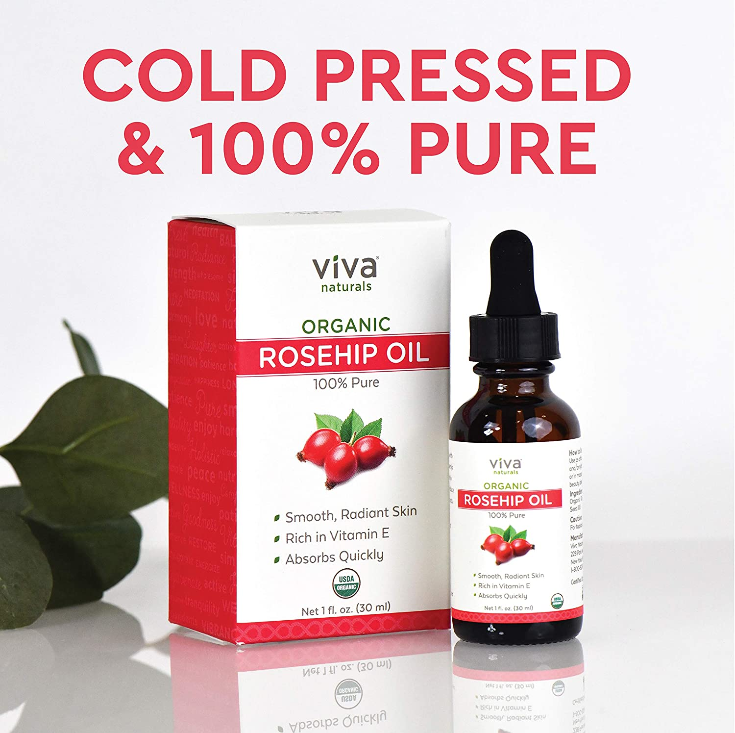 Organic Rosehip Seed Oil for Face - 100% Pure Cold Pressed Facial Oil, Reduces the Appearance of Scars, Natural Non-Greasy Moisturizing Serum for Dry and Sensitive Skin