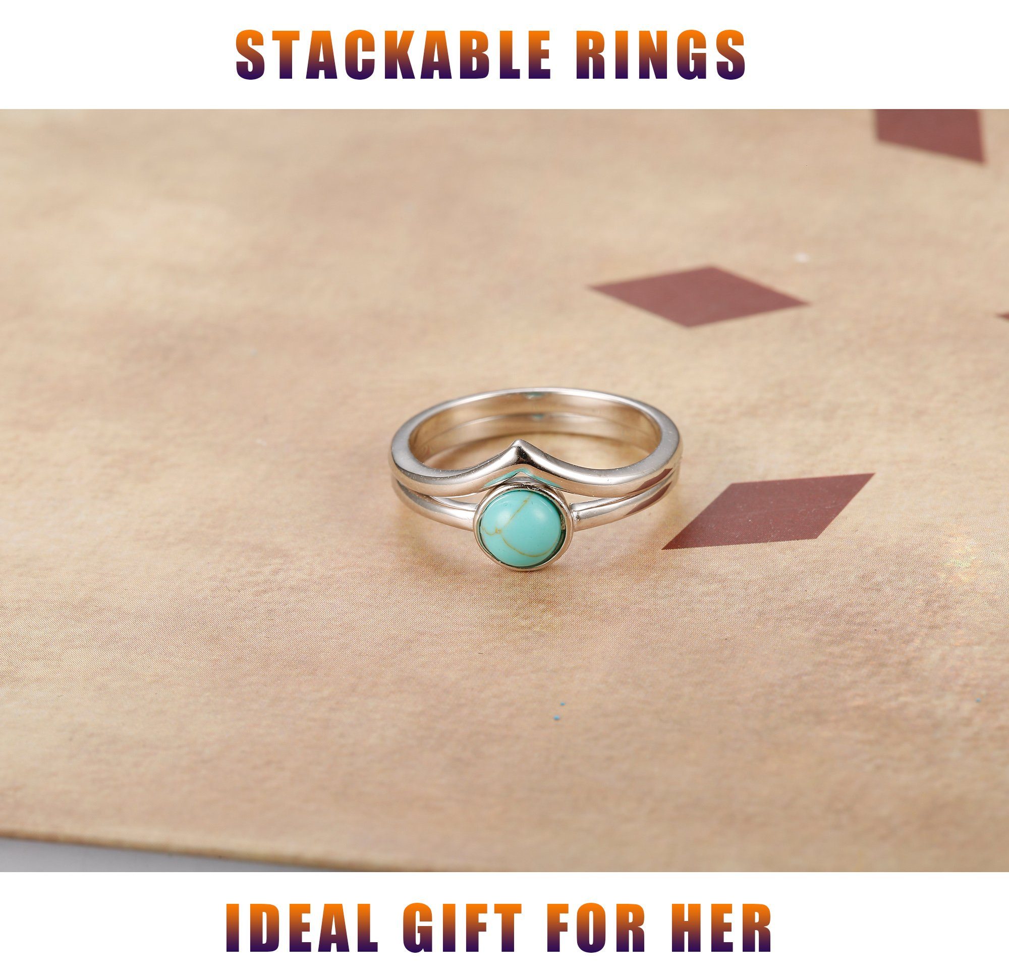 FUNRUN JEWELRY 2 PCS Sterling Silver Stackable Rings for Women Girls Chevron Thumb Turquoise Rings Set High Polish Size 9 by FUNRUN JEWELRY (Image #3)