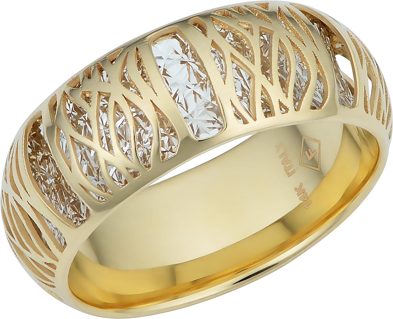 Kooljewelry 14k Two-tone Gold Filigree Band Ring (7.1 mm)