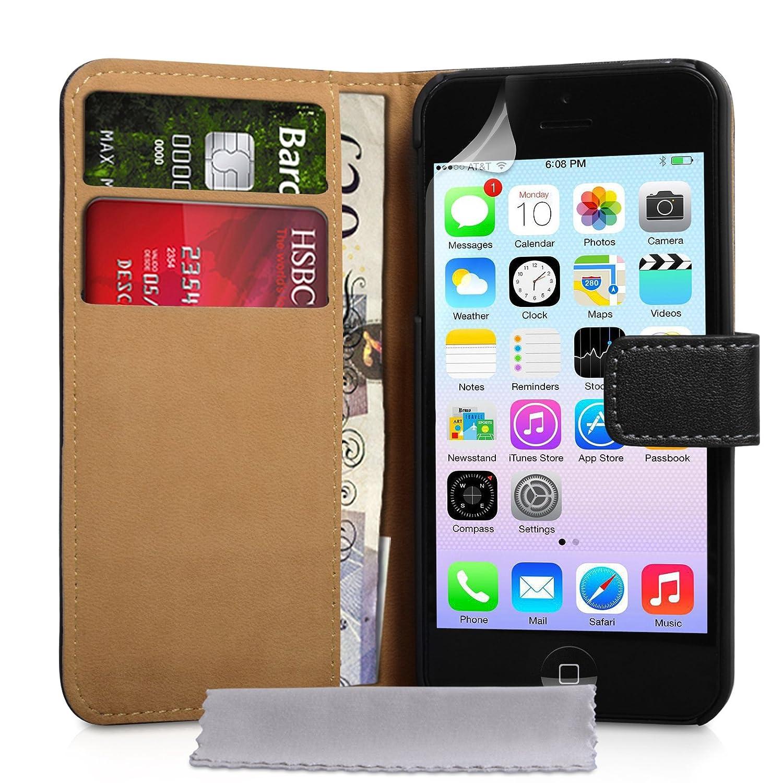 cc203 iphone 5c tasche schwarz echt leder brieftasche h lle ebay. Black Bedroom Furniture Sets. Home Design Ideas