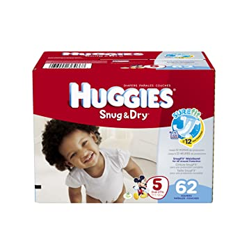 Amazon.com: Huggies Snug and Dry Diapers Big Pack, Size 5, 62 ...