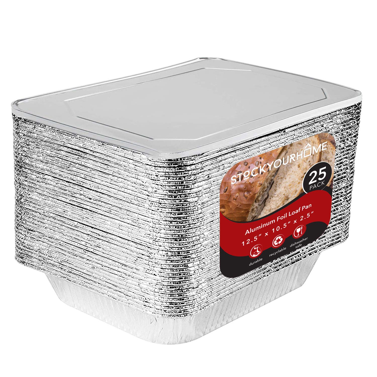 "9 x 13 Aluminum Foil Pans with Lids 25 Each - Disposable Steam Table Deep Pans Great for Restaurants, Parties, BBQ, Catering, Baking, Cooking, Heating, Storing, Prepping Food – 12.5"" x 10.25"" x 2.5"""