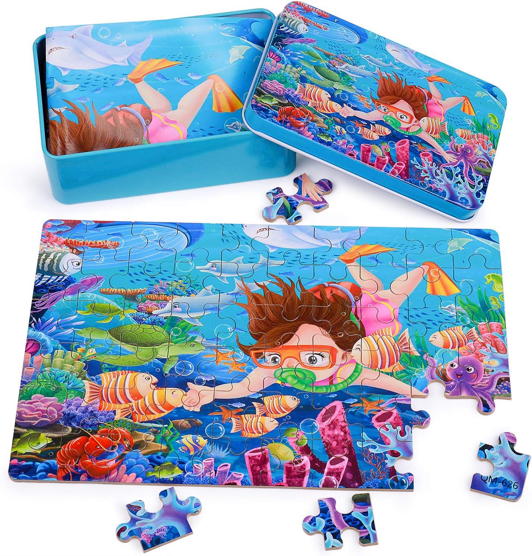 Rolimate Rompecabezas Puzzle de Madera para Niños Niñas, 60piezas Mejor Regalo 3 4 5 años, Animales Rompecabezas de Madera Coloridos Juguetes con Caja de Rompecabezas de Metal - Mundo Submarino