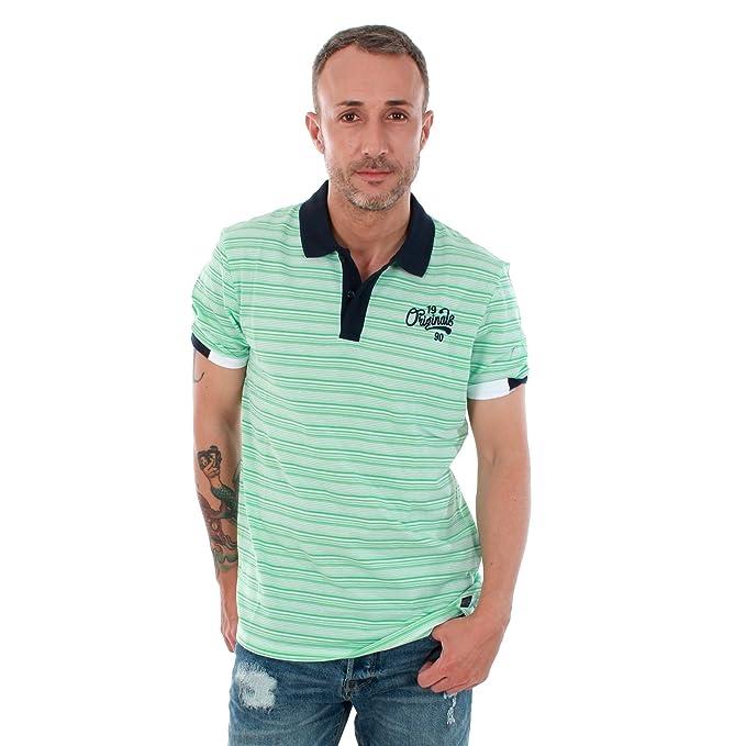 JACK ORIGINALS Polo Hombre Color 1/5BLANC/VERD Talla: XL: Amazon ...