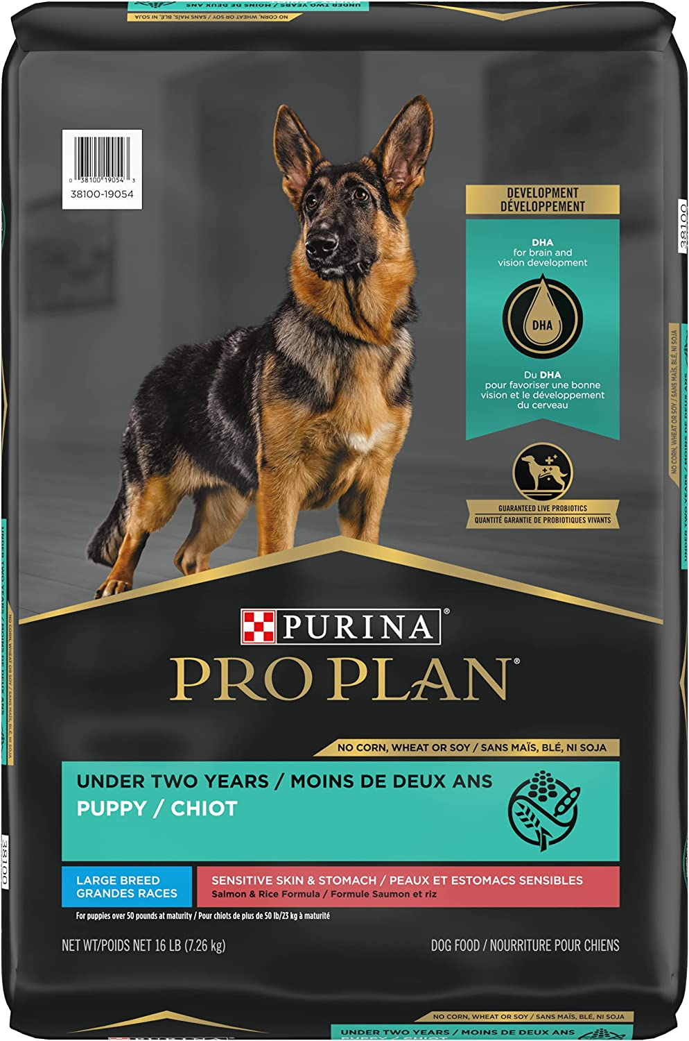 Purina Pro Plan Sensitive Skin and Stomach Large Breed Puppy Food with Probiotics, Salmon & Rice Formula - 16 lb. Bag