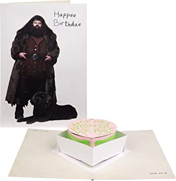 Harry Potter Hagrid Happy Birthday Cake Pop-Up Card - Deluxe Handcrafted Pop Up Card - 5 x 7