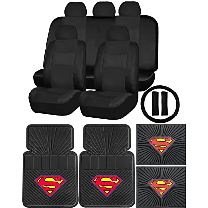 Synthetic Leather Black Seat Cover Set Superman Classic Rubber Floor Mat Universal
