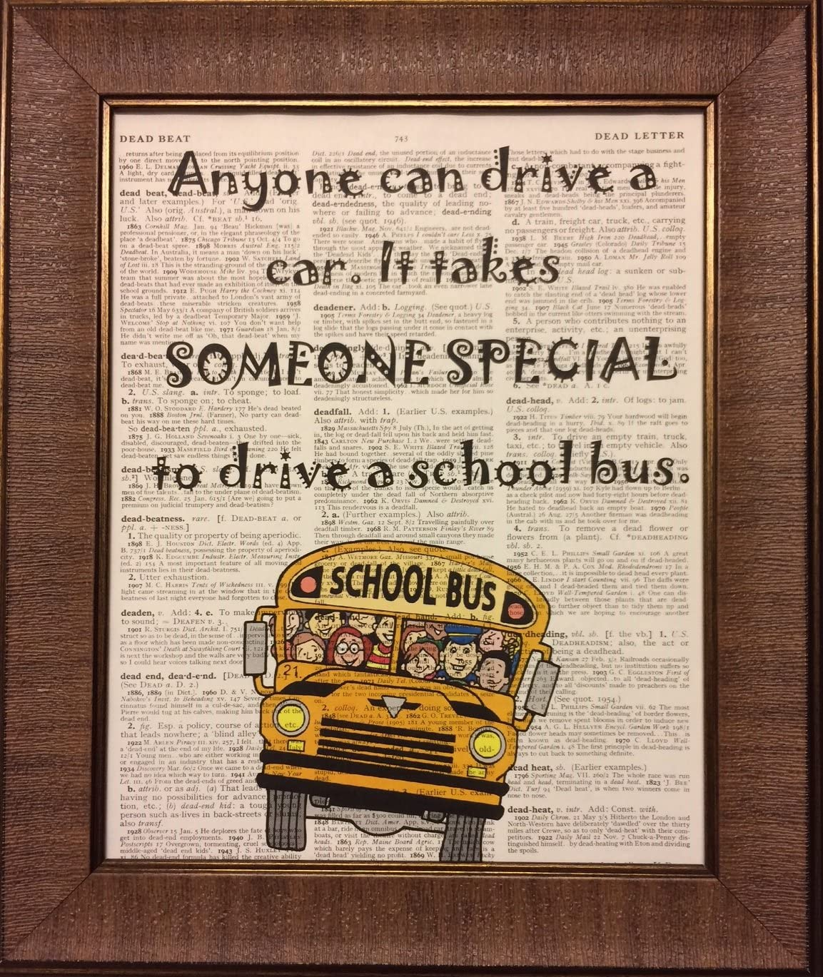Ready Prints School Bus Driver Quote Dictionary Book Page Artwork Print Picture Poster Home Office Bedroom Nursery Kitchen Wall Decor - unframed