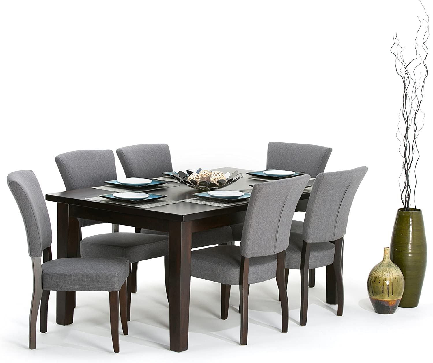 Amazon Com Simpli Home Joseph Contemporary 7 Pc Dining Set With 6 Upholstered Dining Chairs In Slate Grey Linen Look Fabric And 66 Inch Wide Table Table Chair Sets
